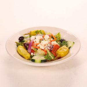 Lettuce, Tomato, Onion, Kalamata Olives, Feta, Pepperoncini